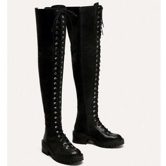 af4abf85cfd Rare Zara over the knee lace up boots